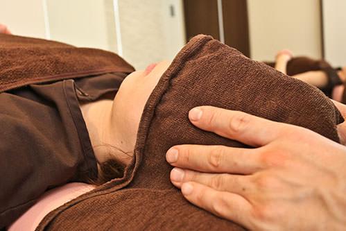 呼吸音測定と胸鎖乳突筋のリラックス